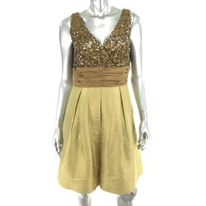 Kay Unger 12 Fit Flare Dress Brown Gold Sequin